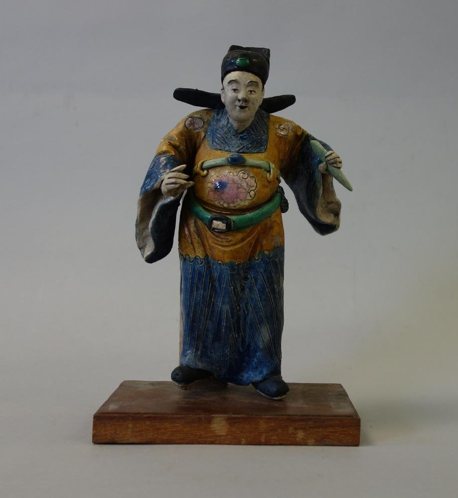 Chinese Polychrome Glazed Figural Roof Tile