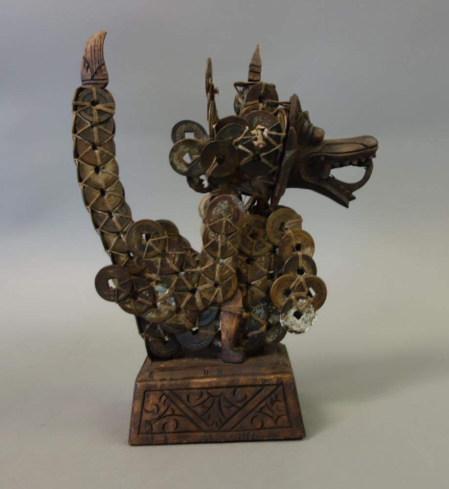 Balinese Carved Wood & Chinese Coin Qilin - 4
