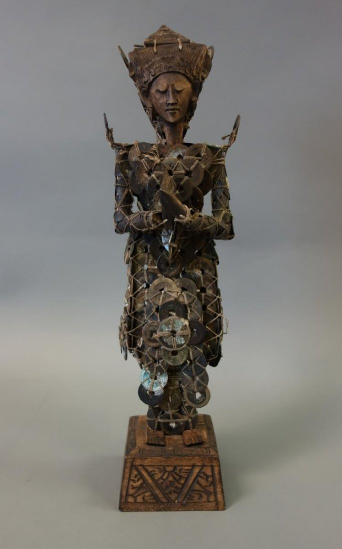 Balinese Carved Wood & Chinese Coin Buddha