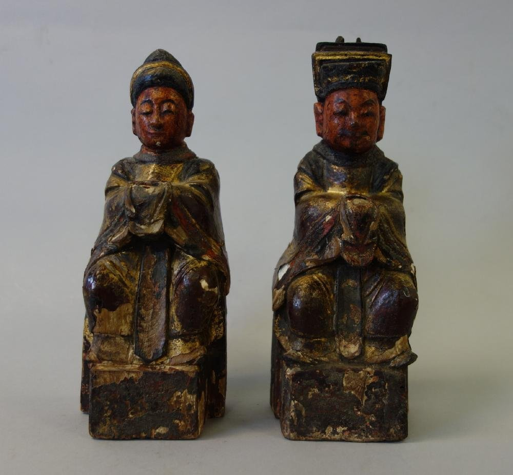 2 Chinese Carved Wood Temple Reliquary Figures