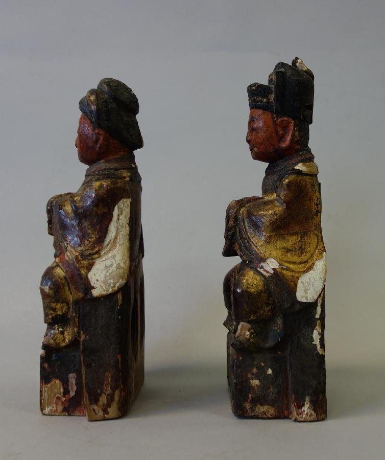 2 Chinese Carved Wood Temple Reliquary Figures - 2