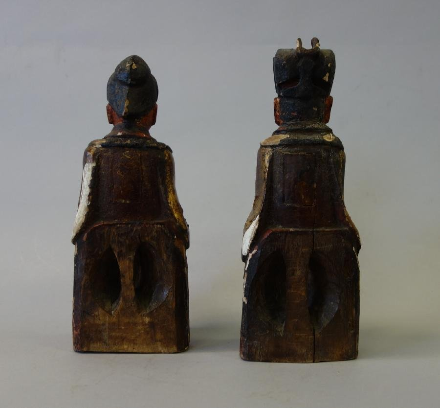 2 Chinese Carved Wood Temple Reliquary Figures - 3