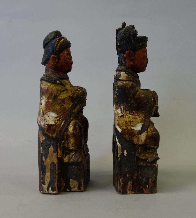 2 Chinese Carved Wood Temple Reliquary Figures - 4