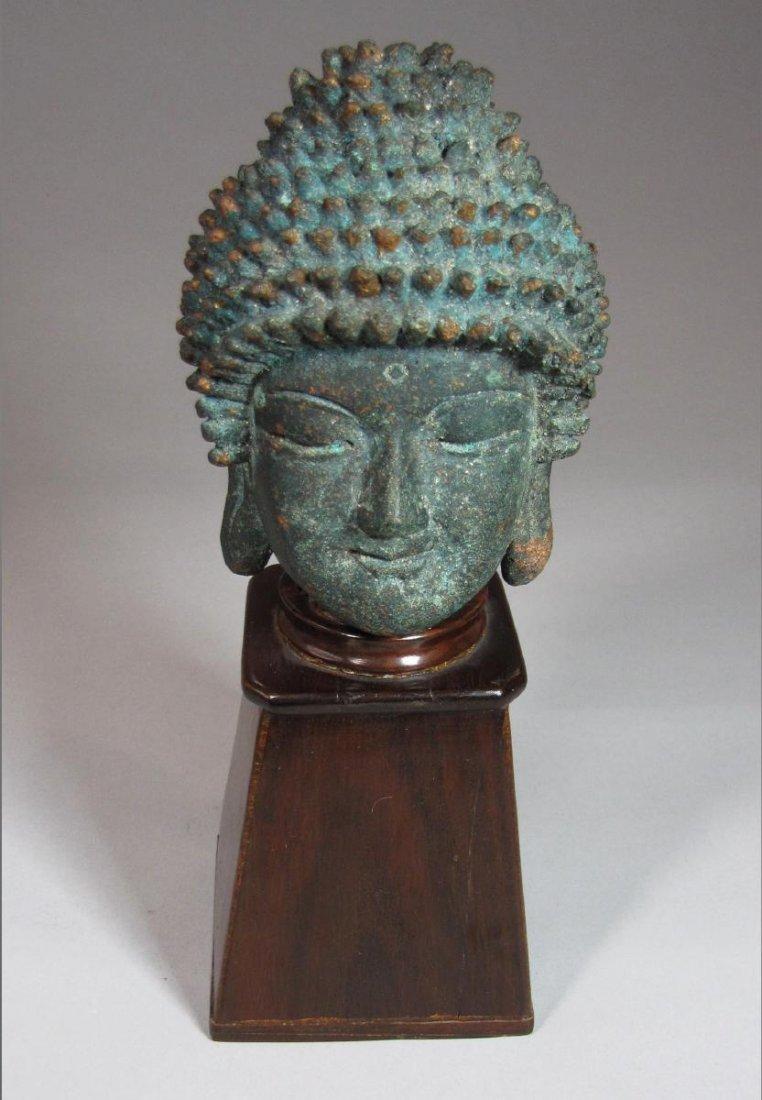 Fine Korean Bronze Buddha Head on Stand