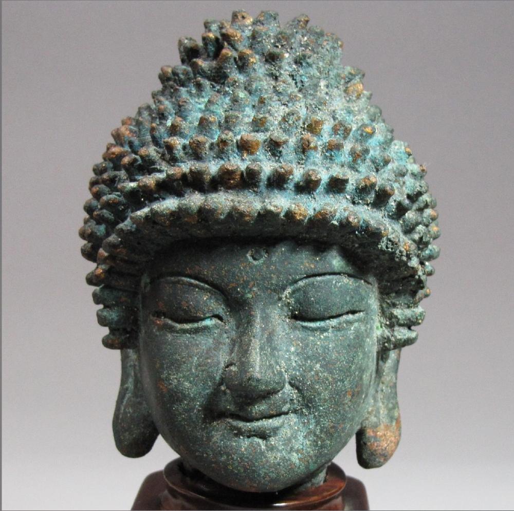 Fine Korean Bronze Buddha Head on Stand - 2