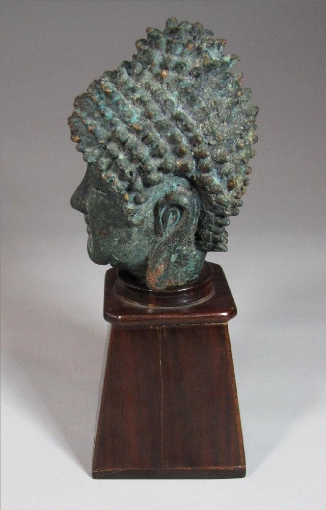 Fine Korean Bronze Buddha Head on Stand - 3