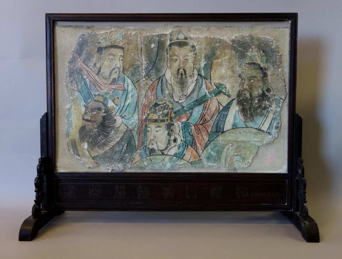 Chinese Polychrome Painted Fresco Fragment