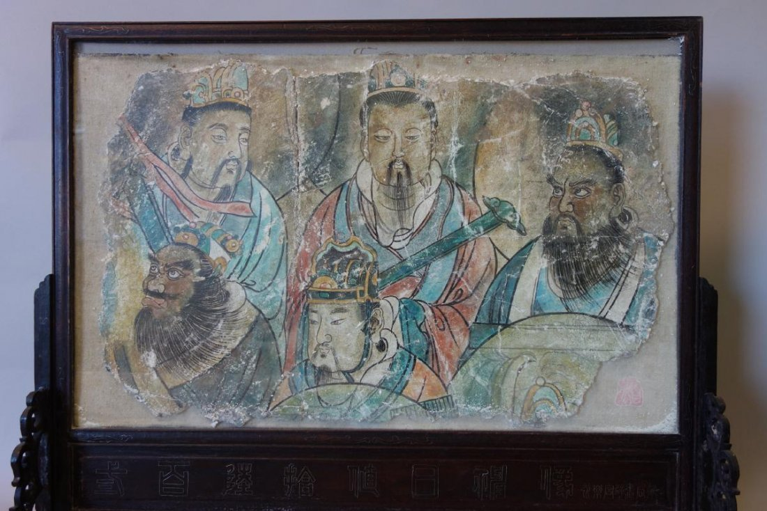 Chinese Polychrome Painted Fresco Fragment - 2