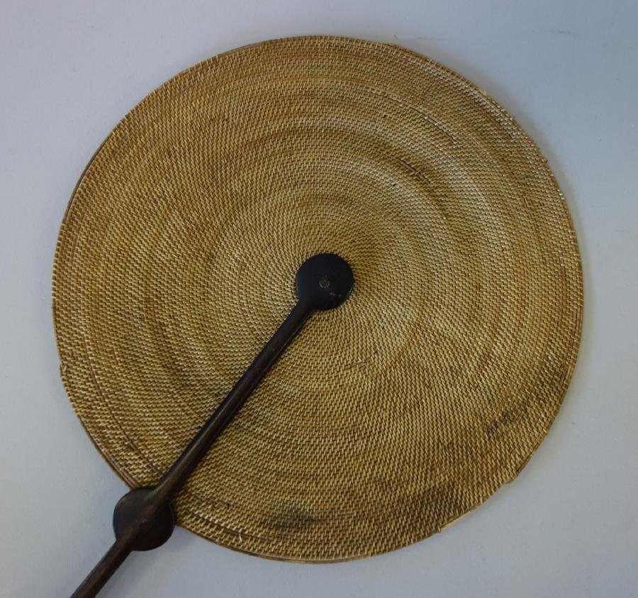 Chinese Woven Grass Fan with Jade Buddha - 2