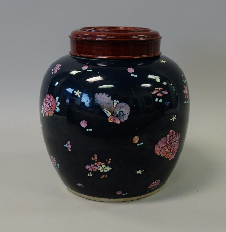 Chinese Porcelain Ginger Jar, Cobalt Ground