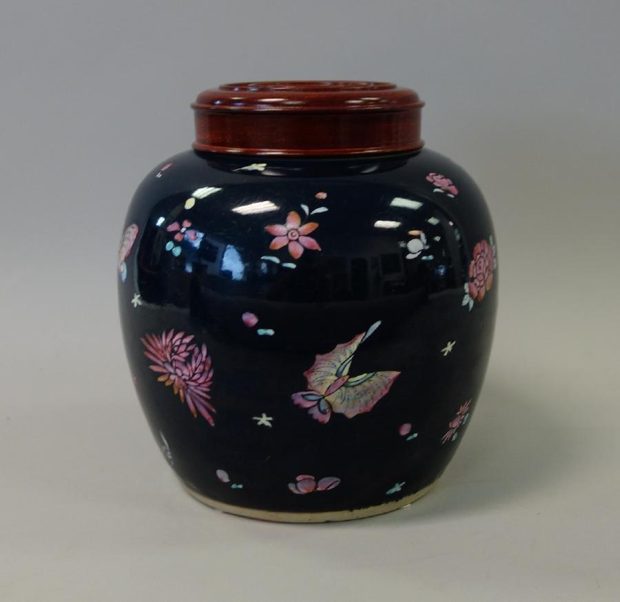 Chinese Porcelain Ginger Jar, Cobalt Ground - 2