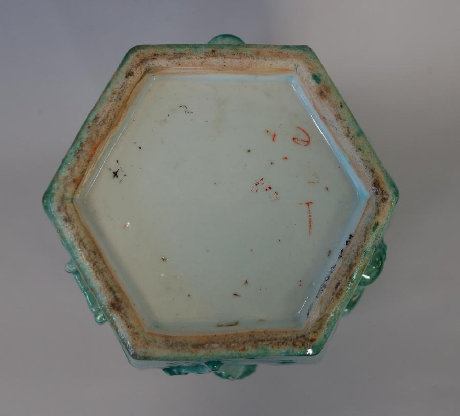 Chinese Green Glazed Porcelain Hexagonal Jar - 6