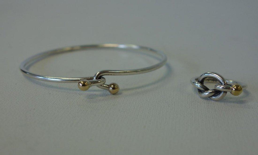 Tiffany & Co Sterling & Gold Knot Bracelet & Ring