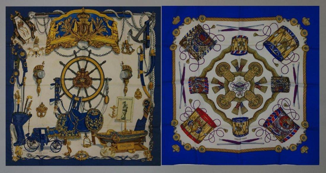 2 Vintage Hermes Silk Scarves Les Tambours & Musee