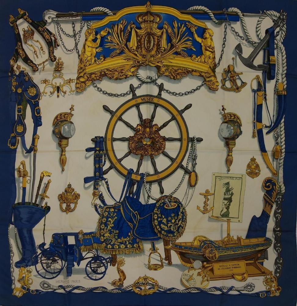 2 Vintage Hermes Silk Scarves Les Tambours & Musee - 2