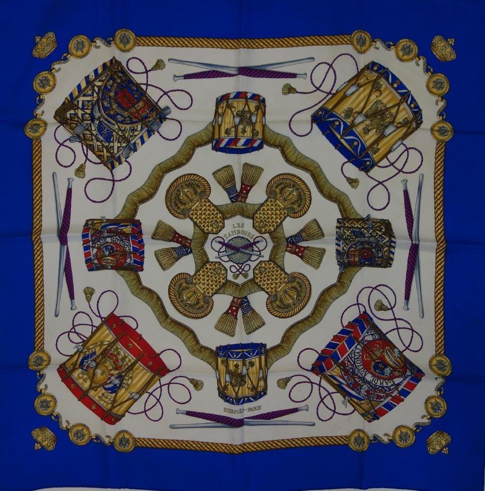 2 Vintage Hermes Silk Scarves Les Tambours & Musee - 3