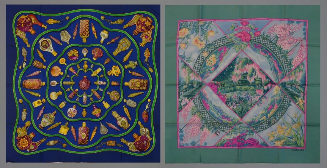 2 Vintage Hermes Silk Scarves, Giverny & Falcon