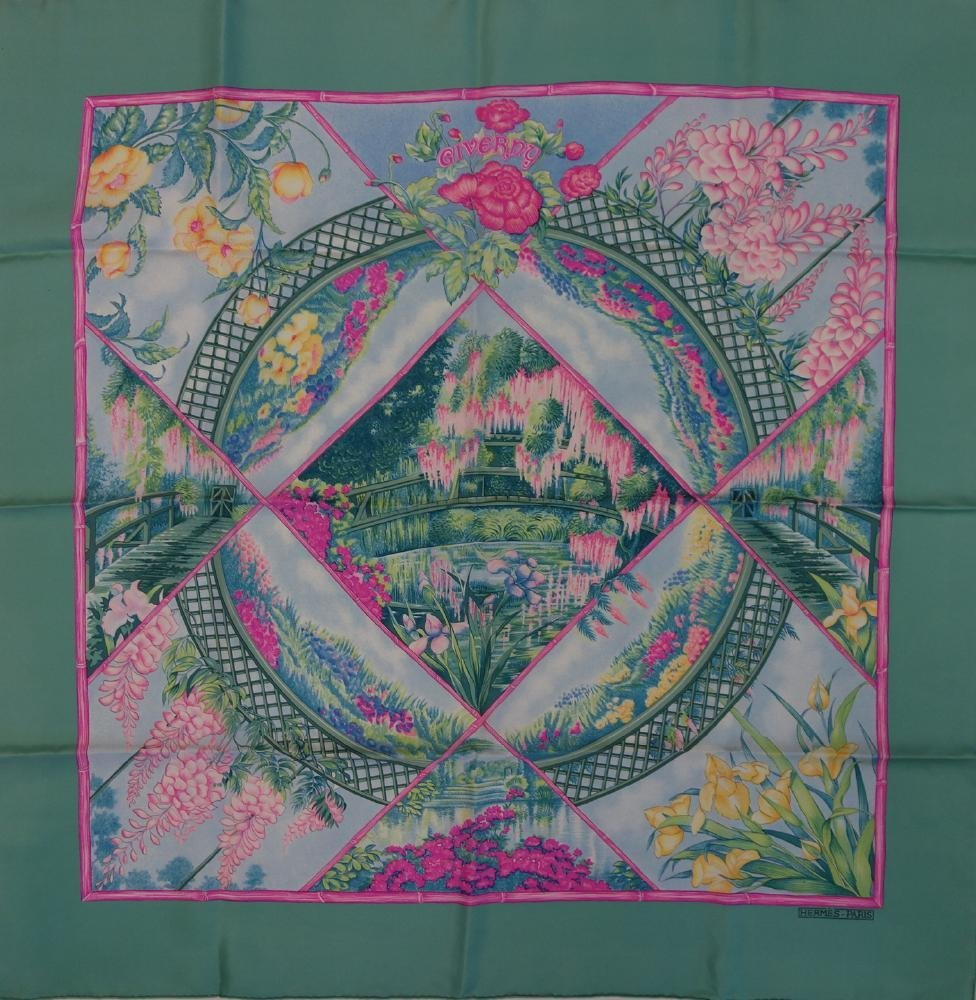 2 Vintage Hermes Silk Scarves, Giverny & Falcon - 3