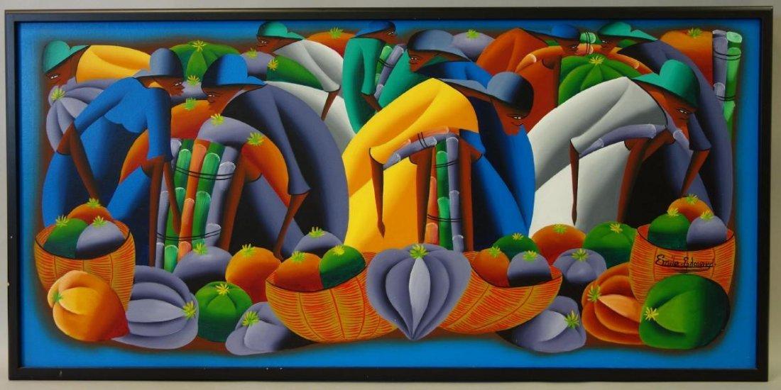Haitian Oil on Canvas, Emile Edouard