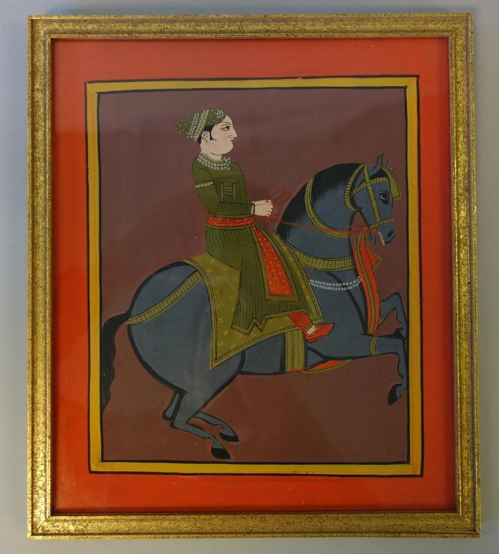Indian Mughal Gouache Painting, Man on Horseback