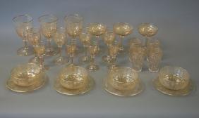 French Gilt Crystal Stemware, Bowls & Plates