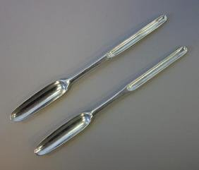 2 Georgian Sterling Marrow Spoons, 1752 & 1755