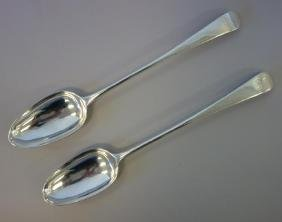 2 Georgian English Sterling Stuffing Spoons c.1769