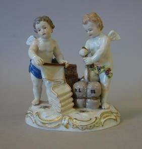 19thc Meissen Porcelain Figural Group, Commerce