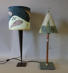 2 Contemporary Table Lamps, Ceramic Shade, Vigone