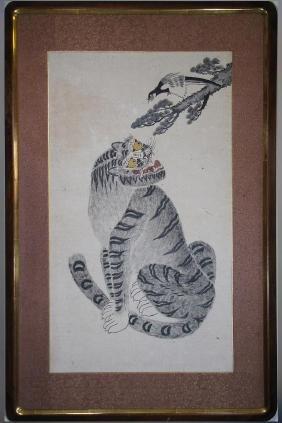 19thc Korean Folk Art Painting, Tiger & Magpie