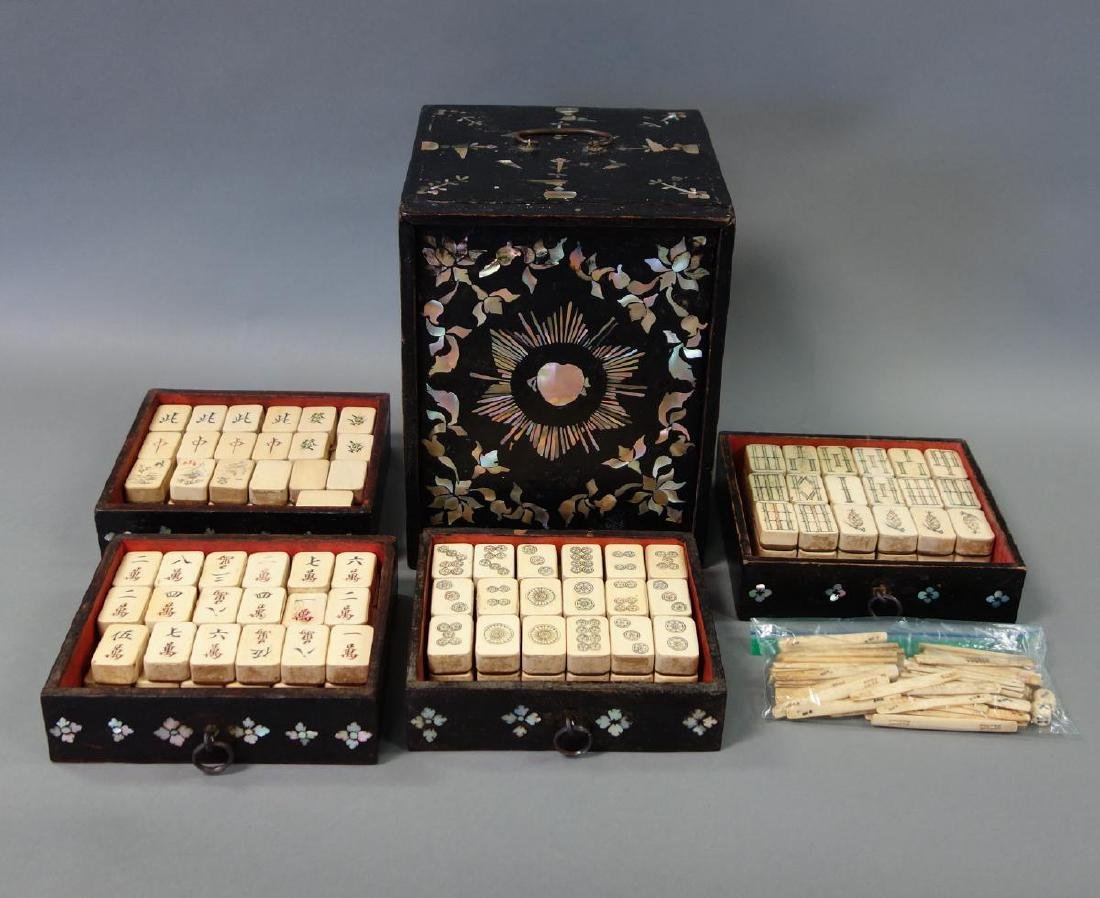 Mahjong Set, Lacquer & Mother of Pearl Case