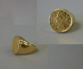 5 Dollar Liberty Head Coin in 14K Gold Ring