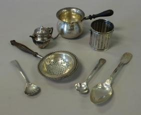 Sterling Silver Articles, Sauce Pot, Tea Strainers