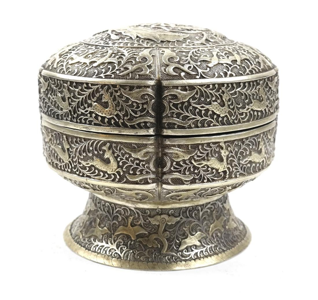 ASIAN LARGE PARCEL-GILT SILVER STEM BOX AND COVER - 3