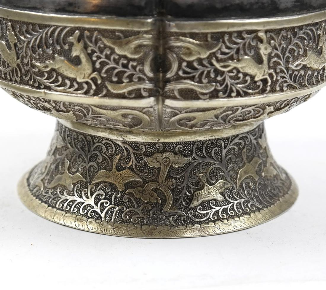 ASIAN LARGE PARCEL-GILT SILVER STEM BOX AND COVER - 6