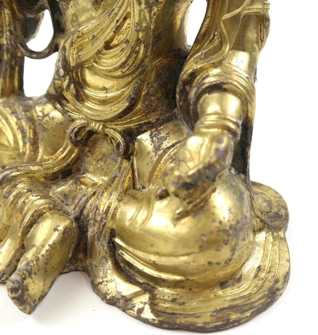 AN ASIAN GILT-BRONZE SEATED FIGURE OF A BODHISATTVA - 7