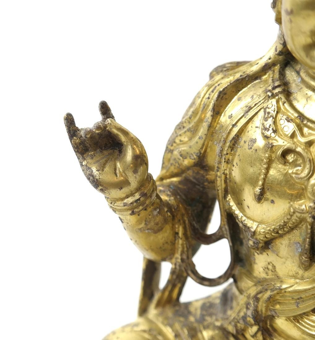 AN ASIAN GILT-BRONZE SEATED FIGURE OF A BODHISATTVA - 9
