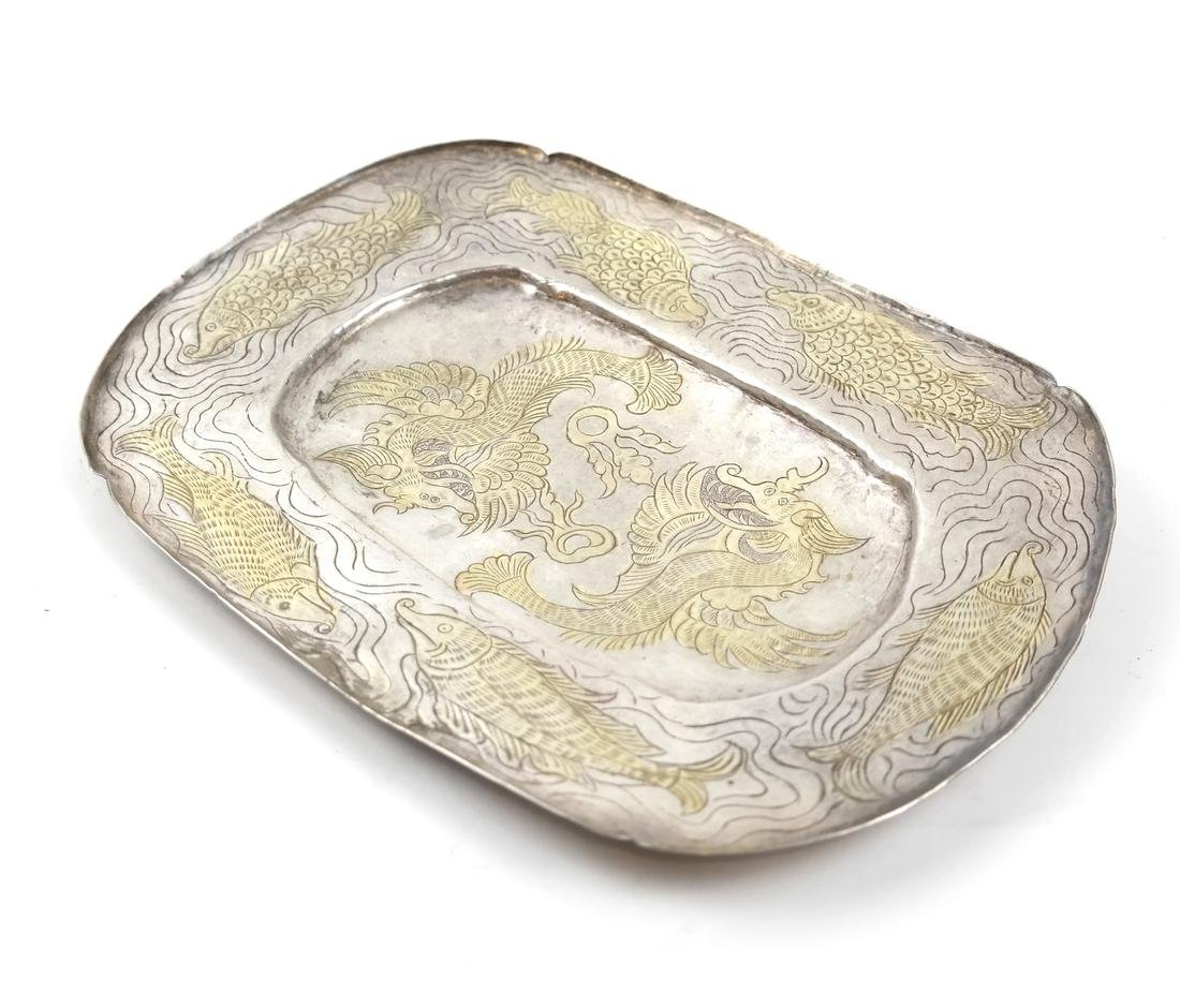 AN ASIAN SILVER-GILT SHALLOW OVAL TRAY