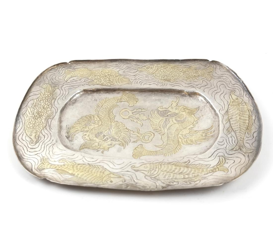 AN ASIAN SILVER-GILT SHALLOW OVAL TRAY - 2