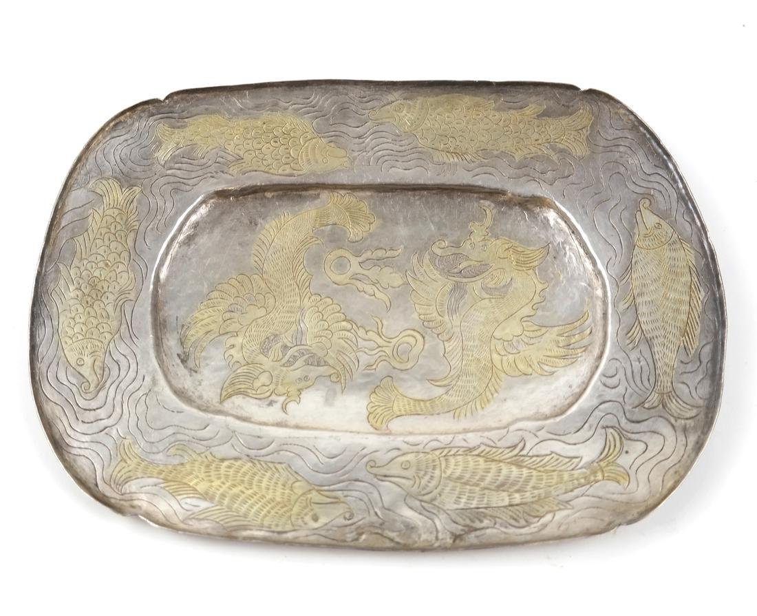 AN ASIAN SILVER-GILT SHALLOW OVAL TRAY - 3