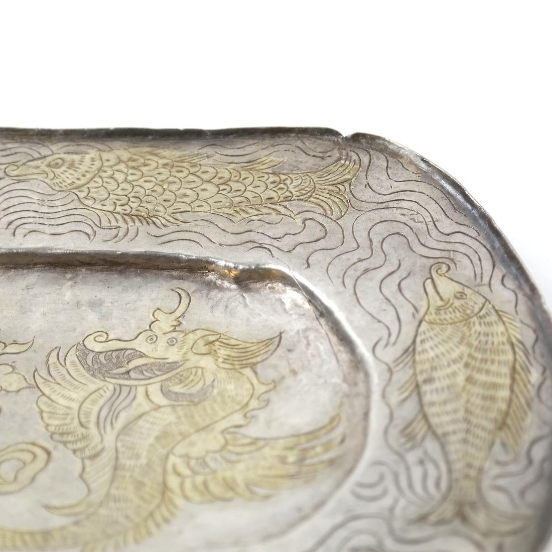 AN ASIAN SILVER-GILT SHALLOW OVAL TRAY - 4