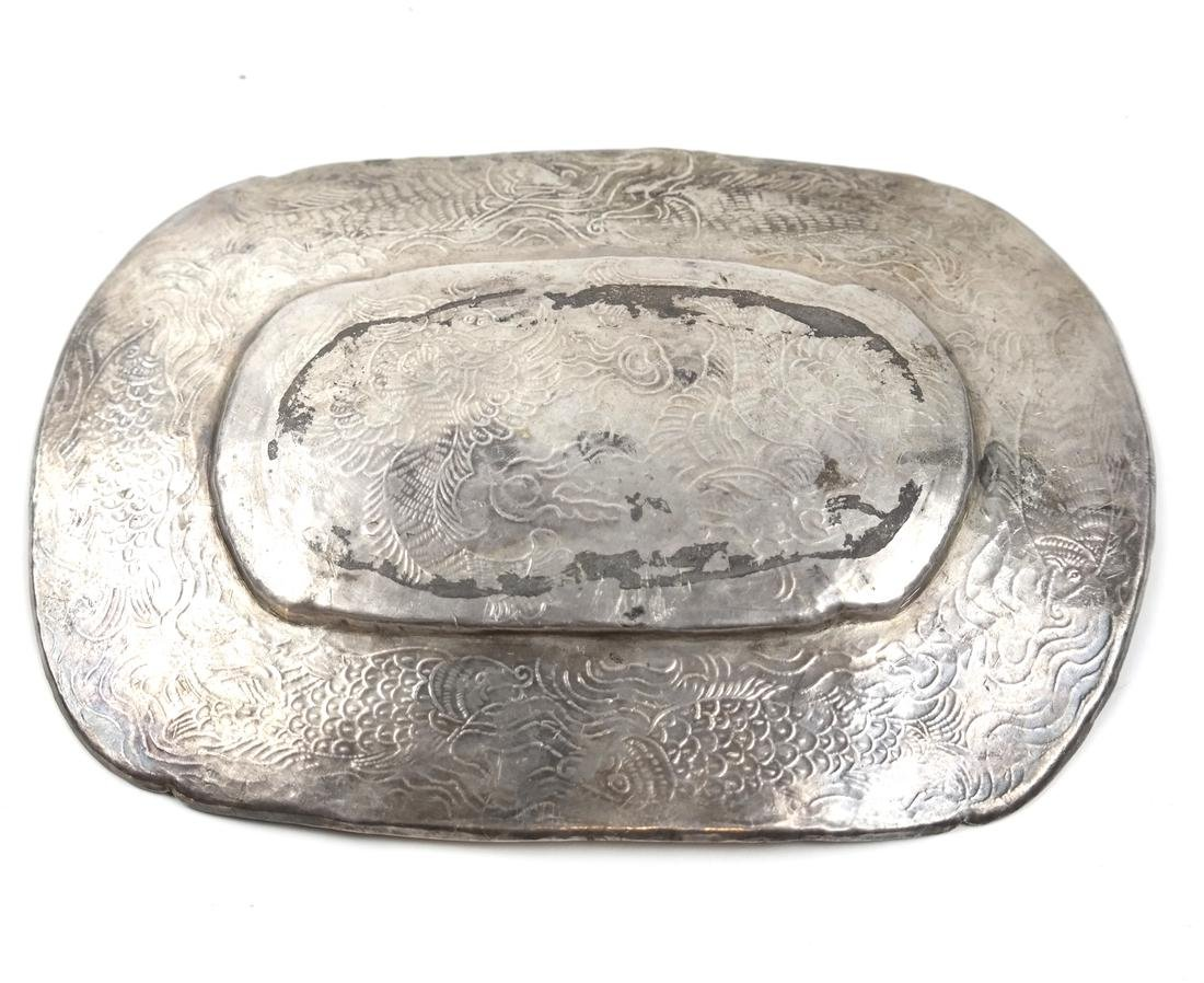 AN ASIAN SILVER-GILT SHALLOW OVAL TRAY - 7