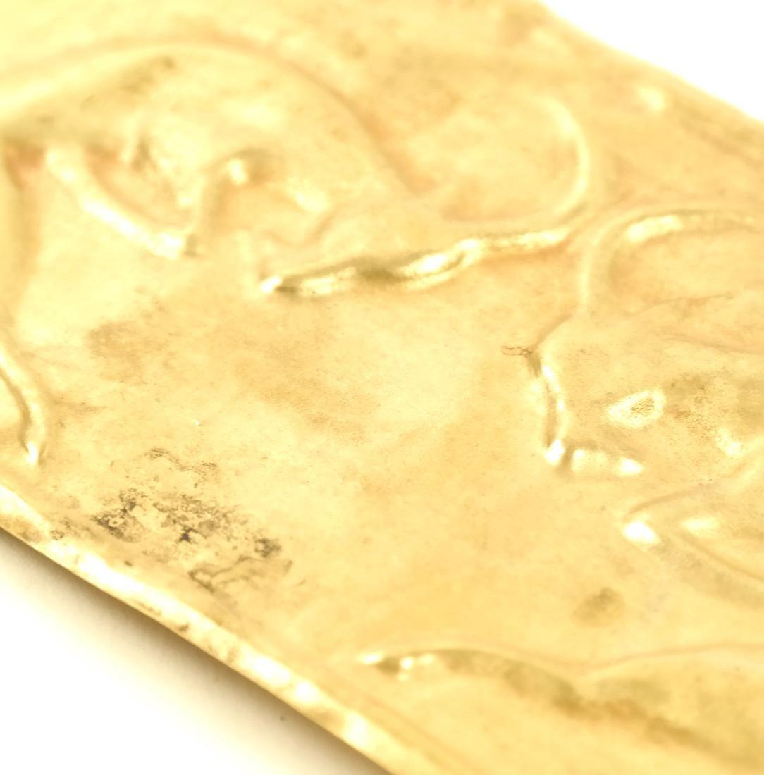 AN ASIAN GOLD SHEET RECTANGULAR PLAQUE OF TWO IBEXES - 5