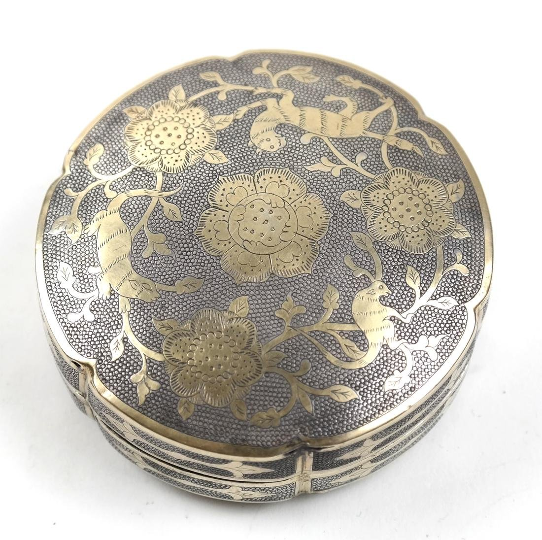 AN ASIAN PARCEL-GILT SILVER HEXAFOIL BOX AND COVER - 3