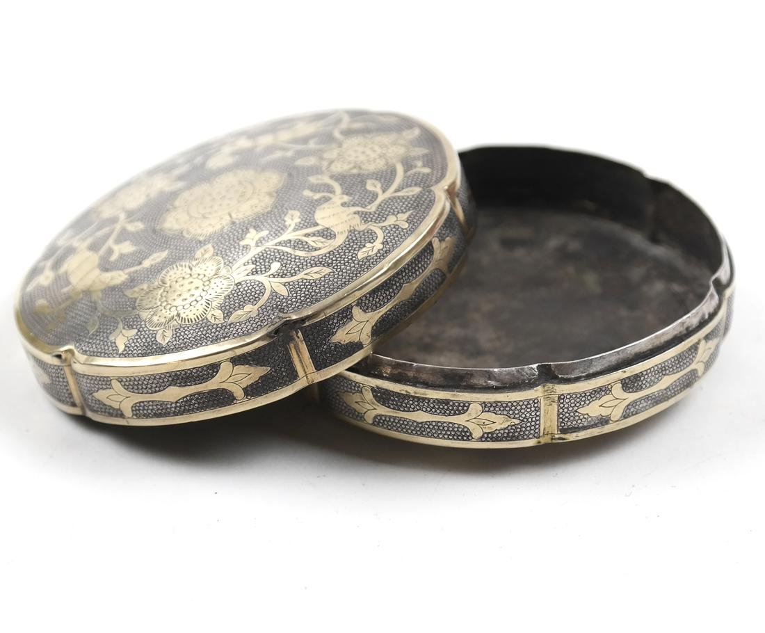 AN ASIAN PARCEL-GILT SILVER HEXAFOIL BOX AND COVER - 5