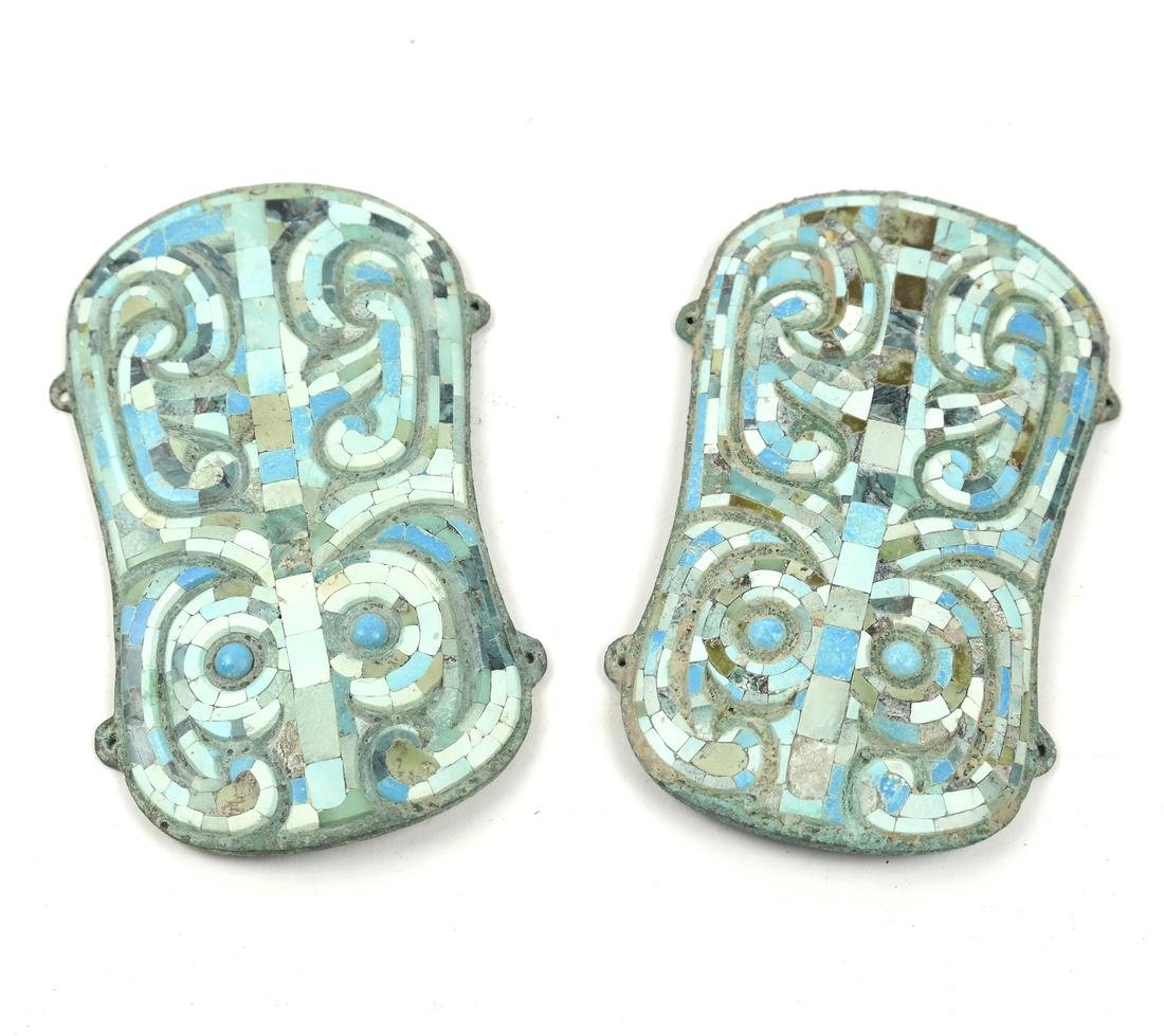 A PAIR OF ASIAN TURQUOISE-INLAID BRONZE FITTINGS