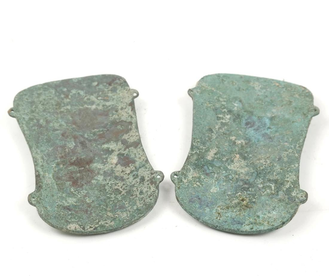 A PAIR OF ASIAN TURQUOISE-INLAID BRONZE FITTINGS - 4