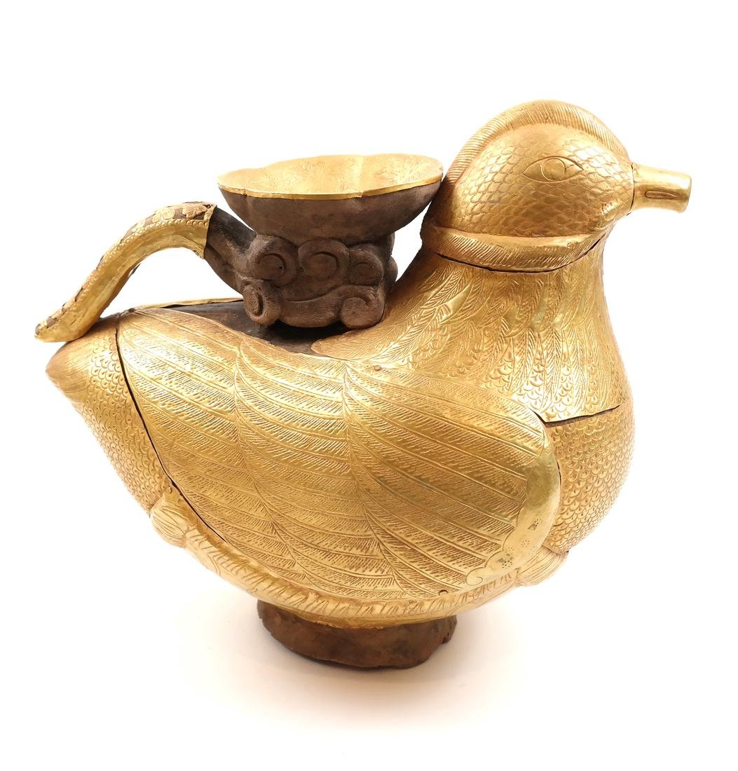 ASIAN LARGE GOLD SHEET-ENCASED BIRD-FORM EWER