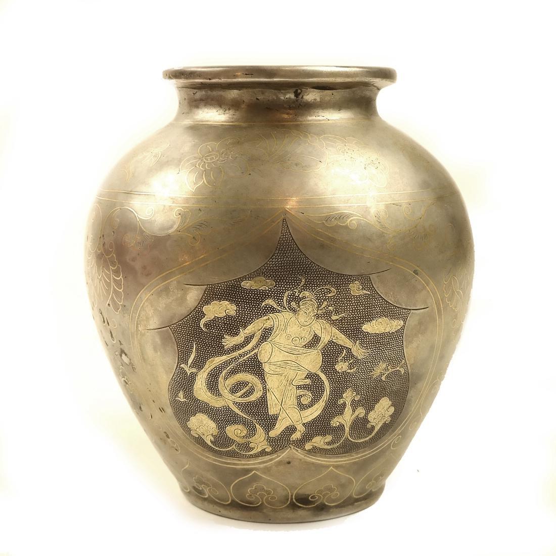 AN ASIAN PARCEL-GILT SILVER BALUSTER JAR