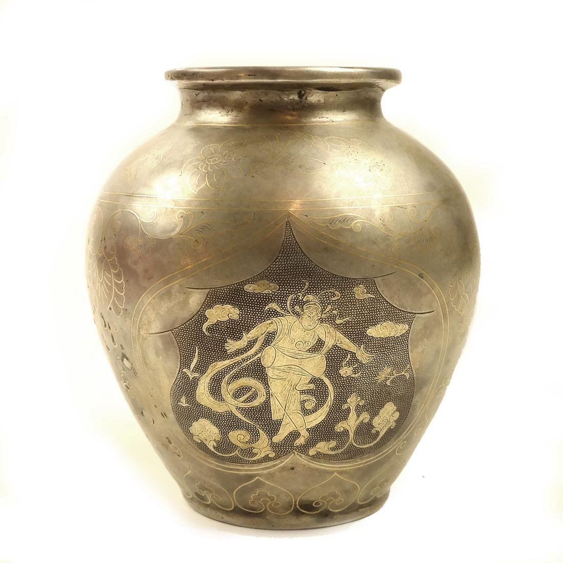 AN ASIAN PARCEL-GILT SILVER BALUSTER JAR